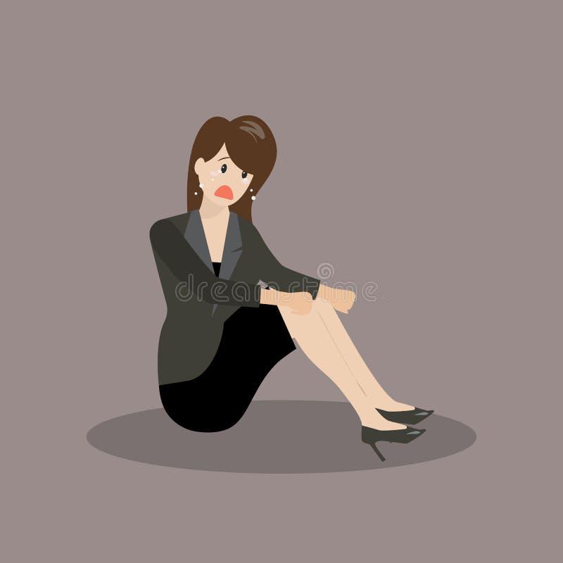 Donna disperata di affari che si siede da solo illustrazione vettoriale