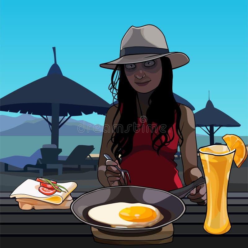Donna divertente del fumetto che si siede ad una tavola con un pasto sulla spiaggia royalty illustrazione gratis