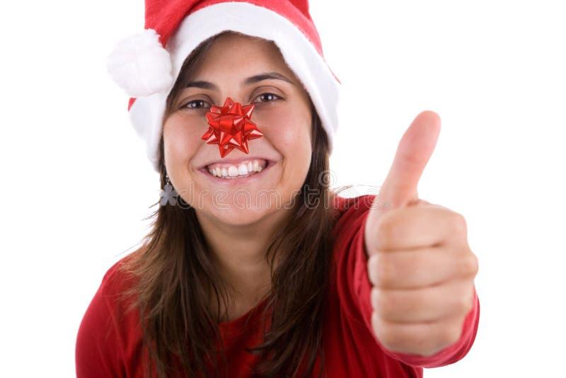 Donna divertente della Santa con il nastro rosso sul suo radiatore anteriore fotografia stock