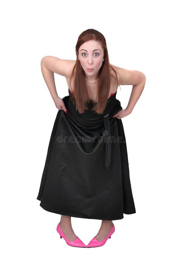 Donna divertente nel nero fotografie stock