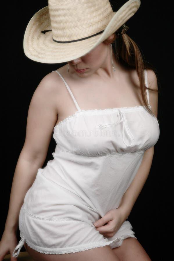 Donna In Dress-3 Bianco Fotografia Stock Libera da Diritti