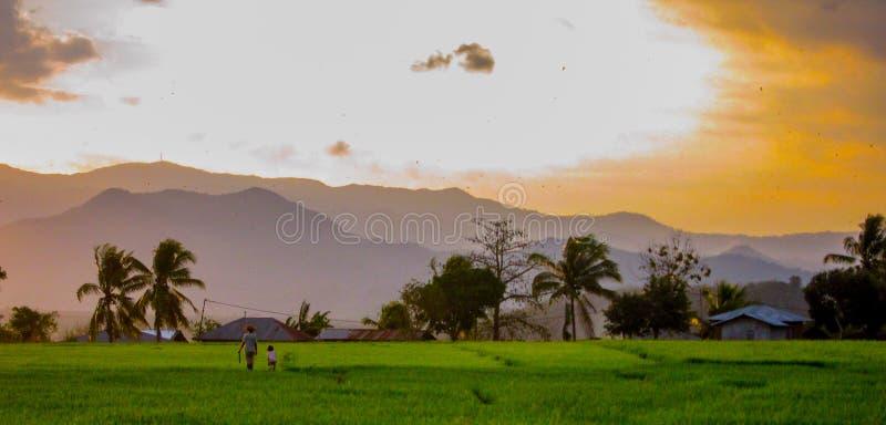 Donna e bambino che camminano i campi al tramonto Flores, Indonesia fotografia stock libera da diritti