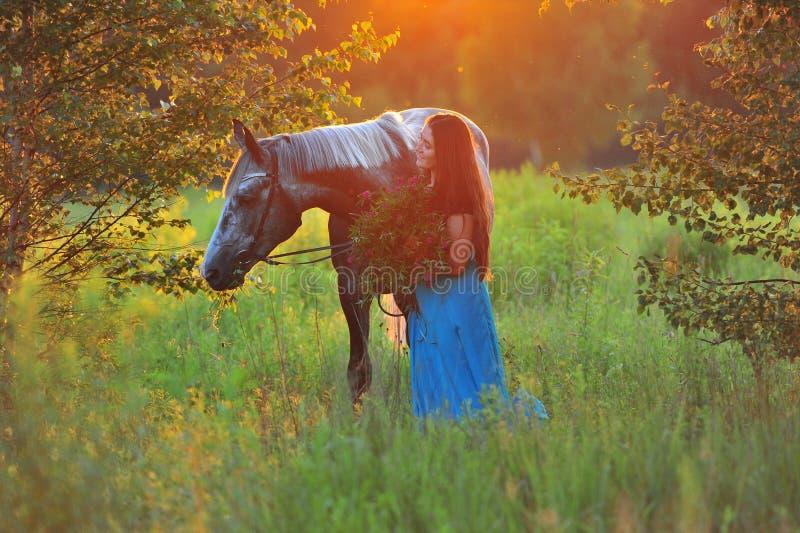Donna e cavallo grigio alla luce dorata fotografie stock libere da diritti