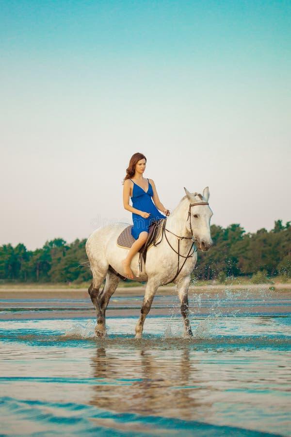 Donna e cavallo sui precedenti del cielo e dell'acqua Ragazza o di modello fotografie stock
