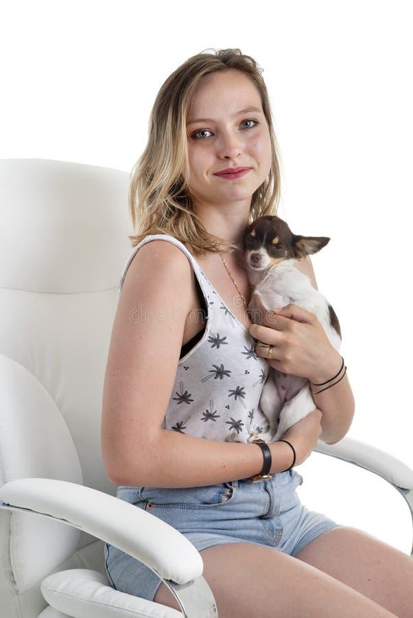 Donna e chihuahua immagine stock