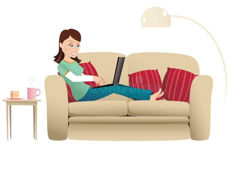 Donna e computer portatile in casa royalty illustrazione gratis