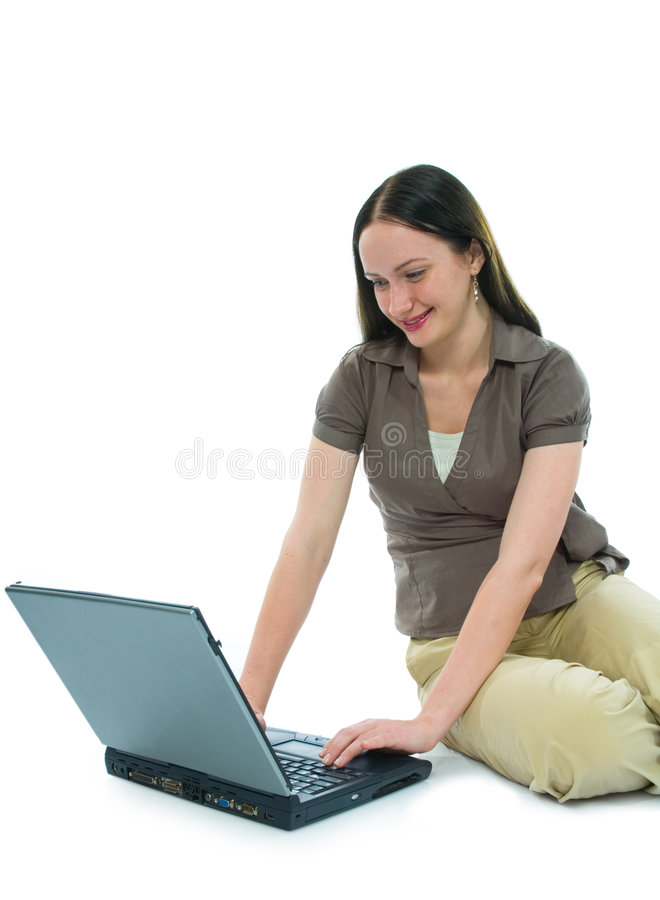 Donna e computer portatile di affari immagine stock libera da diritti