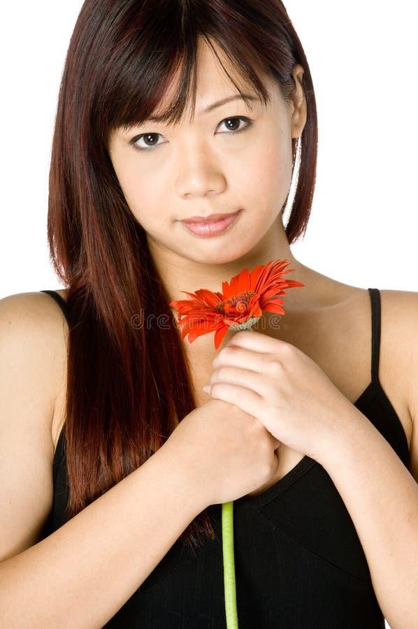 Donna e fiore immagine stock libera da diritti