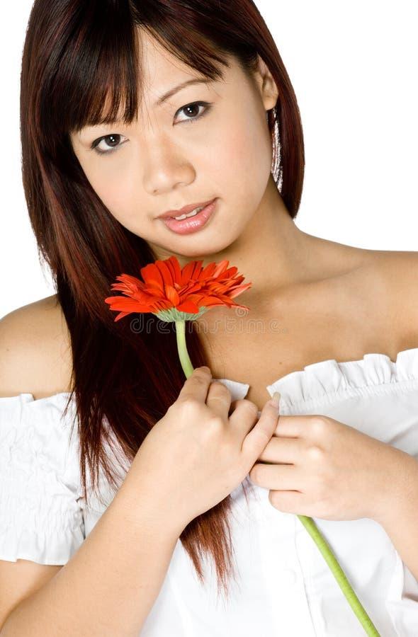 Donna e fiore immagini stock libere da diritti
