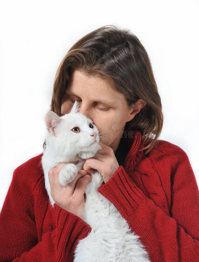 Donna e gatto fotografie stock libere da diritti