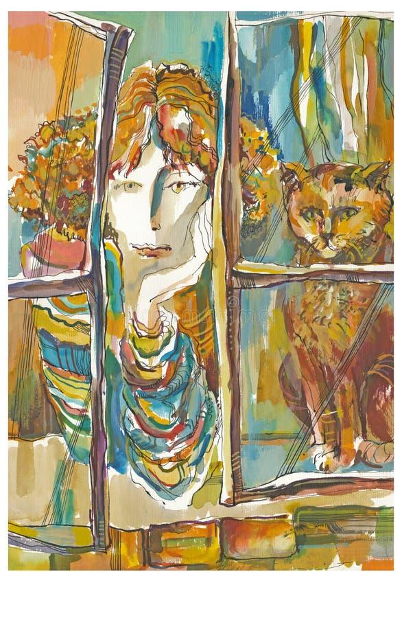 Donna e gatto royalty illustrazione gratis