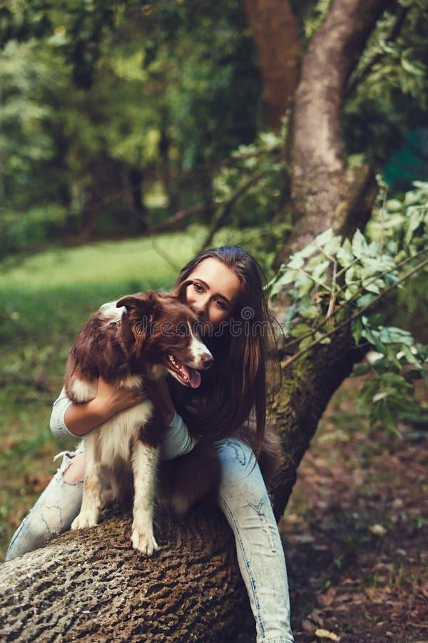 Donna e le sue collie del cane fotografie stock libere da diritti