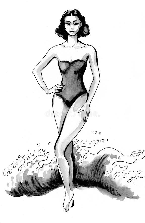 Donna e mare illustrazione di stock
