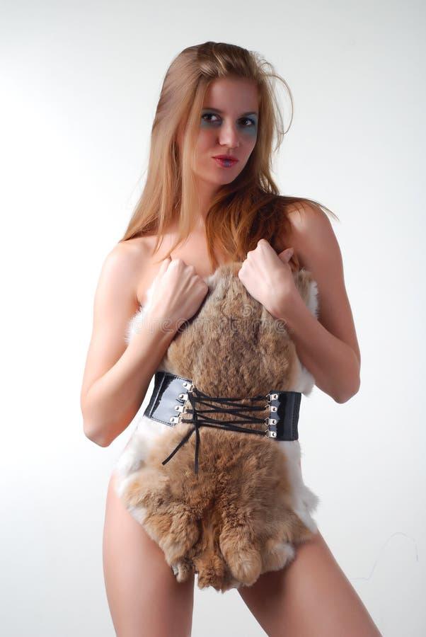 Donna e pelliccia immagine stock libera da diritti