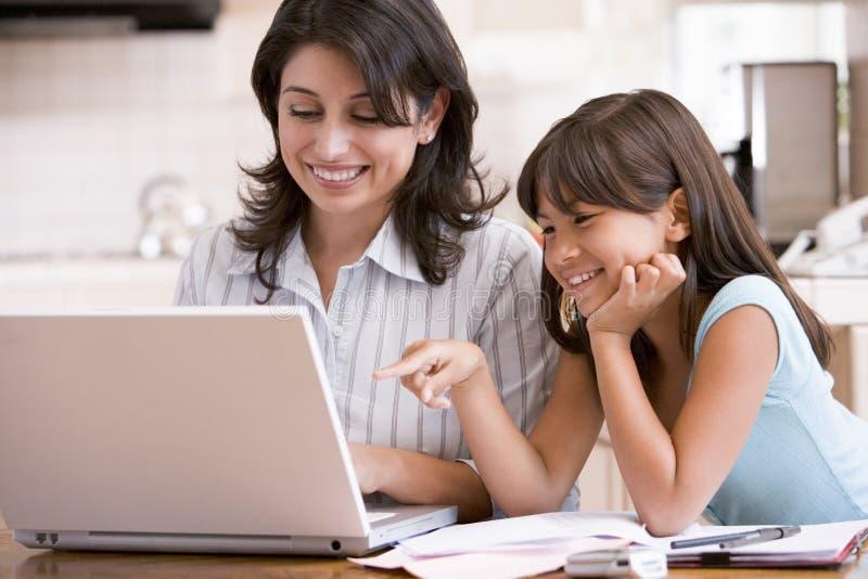 Donna e ragazza in cucina con il computer portatile immagine stock