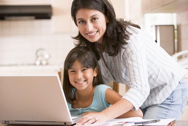 Donna e ragazza in cucina con il computer portatile immagini stock libere da diritti