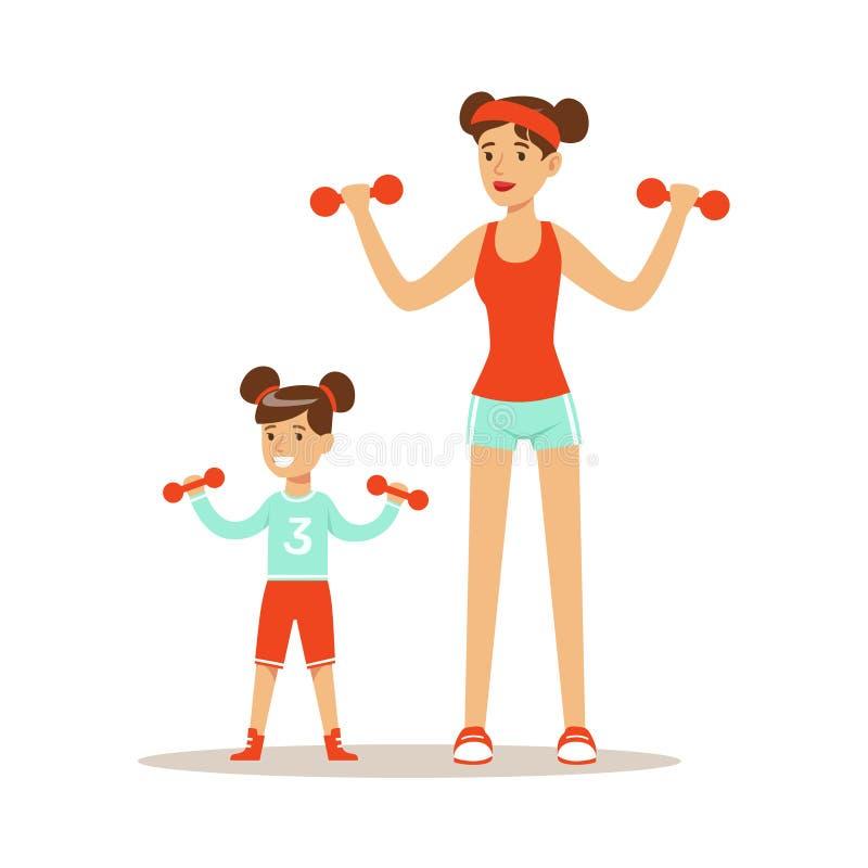 Donna e ragazza sorridenti che si esercitano insieme con i dumbells, la mamma e la figlia aventi buon vettore variopinto dei cara illustrazione vettoriale