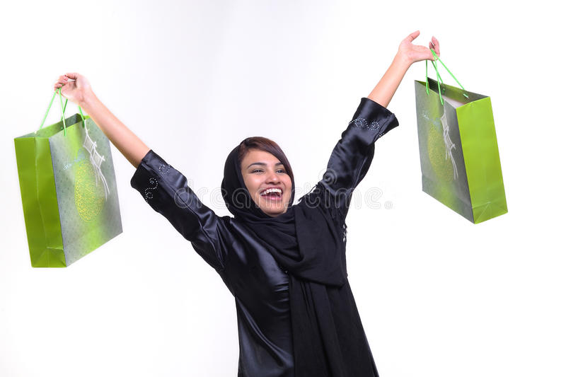 Donna e sacchetto di acquisto fotografia stock