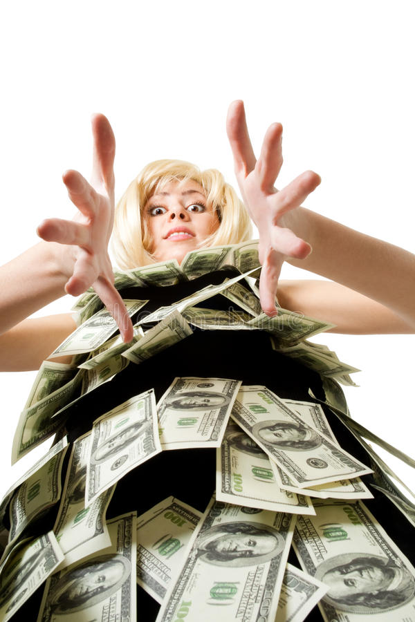 Donna e soldi fotografia stock libera da diritti