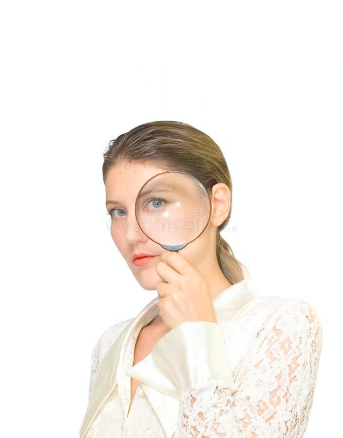 Donna e vetro isolati su bianco fotografia stock
