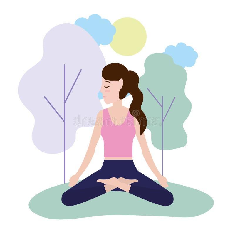 Donna e yoga royalty illustrazione gratis