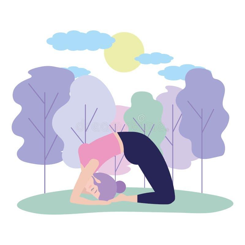 Donna e yoga illustrazione vettoriale