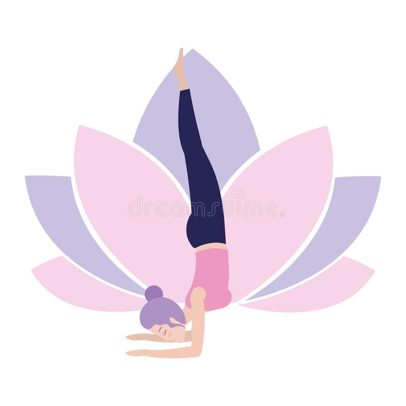 Donna e yoga illustrazione di stock