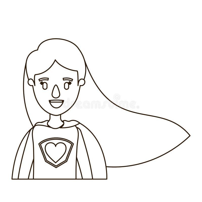 Donna eccellente del mezzo ente di caricatura di contorno di schizzo con capelli lunghi diritti royalty illustrazione gratis
