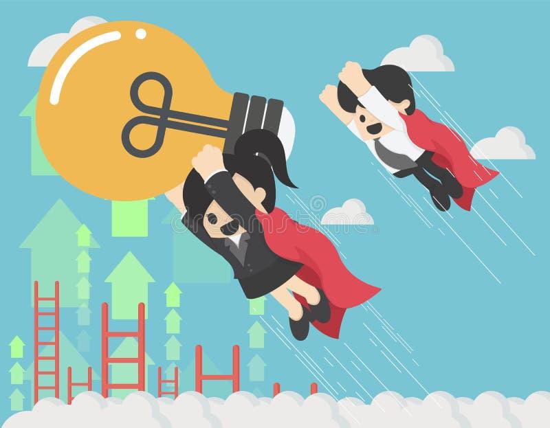 Donna eccellente di affari che sta volando con un amico di affari in sua mano che tiene una grande lampadina che sta andando rius illustrazione vettoriale