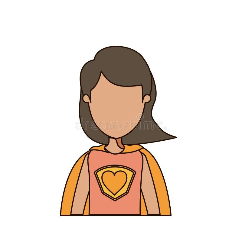 Donna eccellente ente anonimo variopinto di caricatura del mezzo con i capelli di scarsità illustrazione di stock