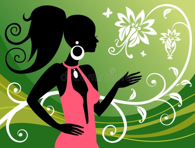 Donna ed ornamenti floreali. Illustrazione di vettore. royalty illustrazione gratis