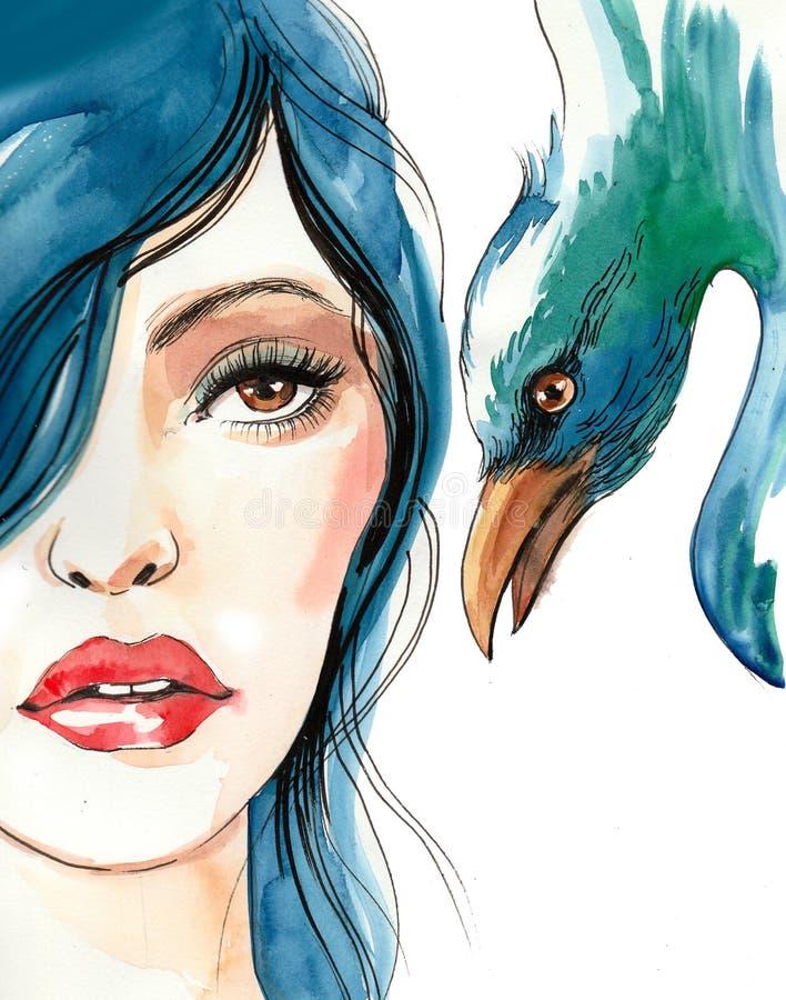 Donna ed uccello graziosi illustrazione di stock