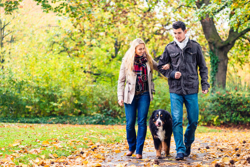 Donna ed uomo con il cane che ha passeggiata di autunno immagini stock