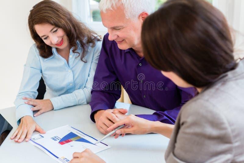 Donna ed uomo senior a pianificazione finanziaria di pensionamento immagine stock