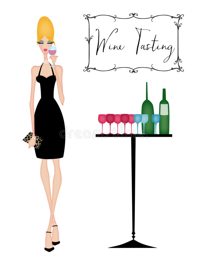Donna elegante ad un assaggio di vino illustrazione vettoriale