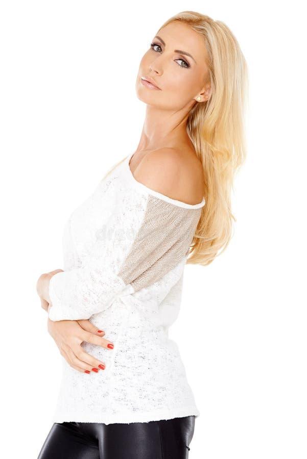 Donna elegante con capelli biondi lunghi immagini stock libere da diritti