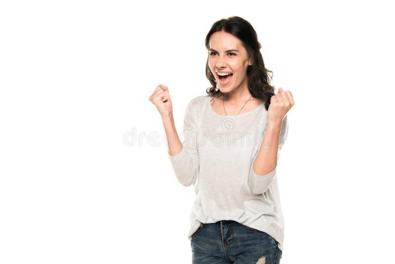 Donna emozionante attraente che urla e che celebra successo fotografie stock libere da diritti