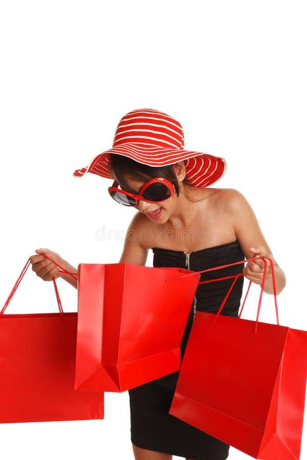 Donna emozionante di acquisto immagini stock