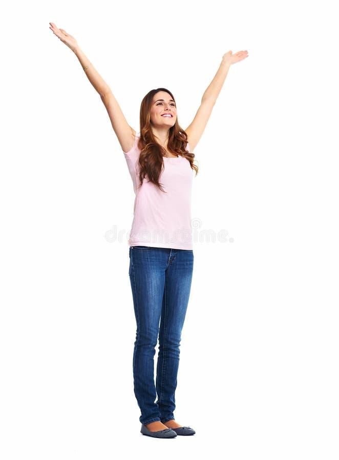 Donna emozionante felice. immagini stock libere da diritti