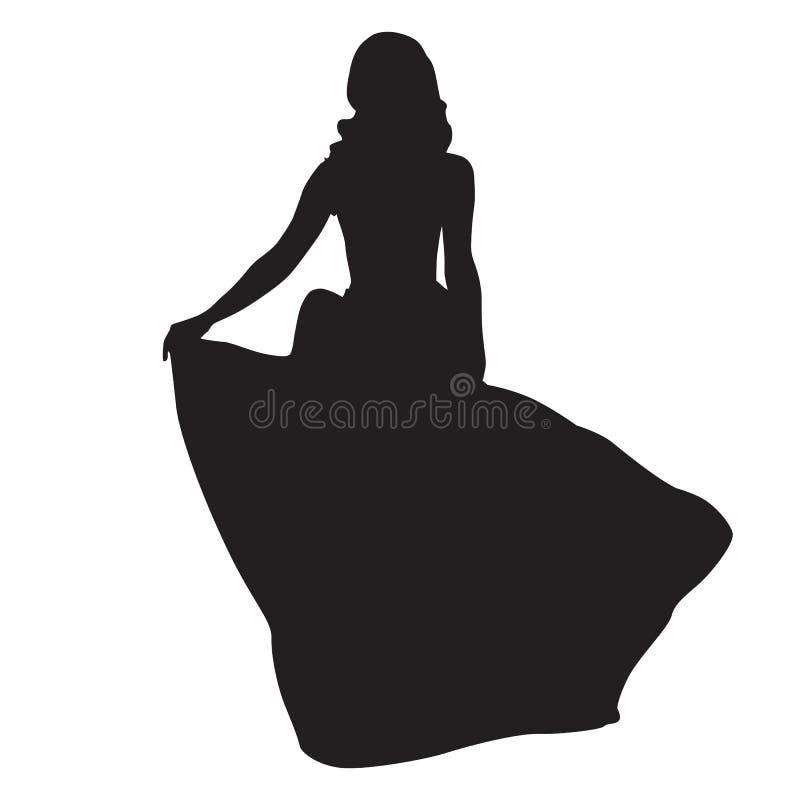 Donna esile in vestito lungo da notte illustrazione di stock