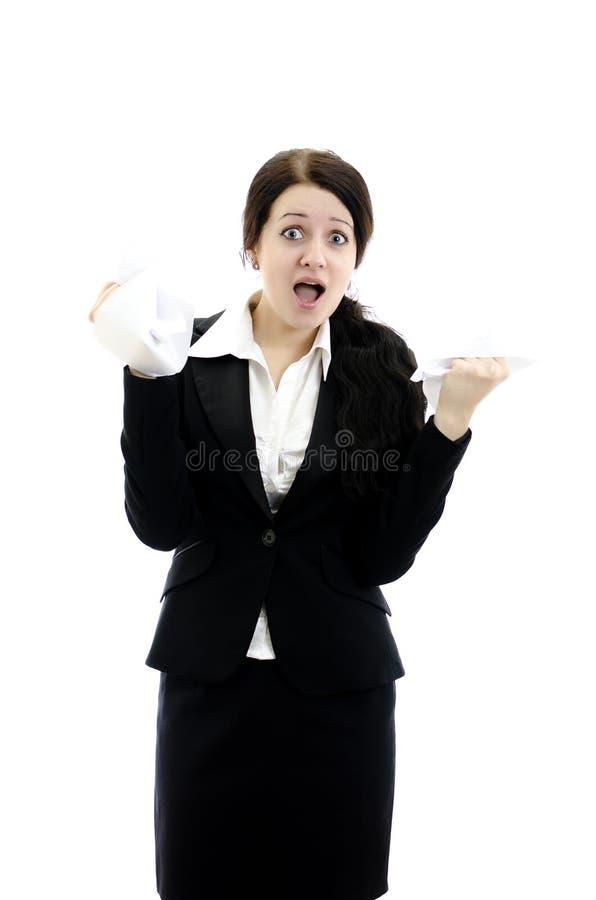 Donna espressiva di affari con documento in mani. immagine stock libera da diritti