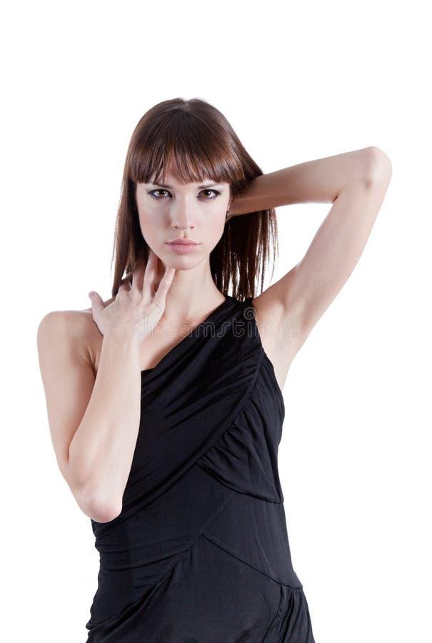 Donna espressiva in vestito elegante immagine stock