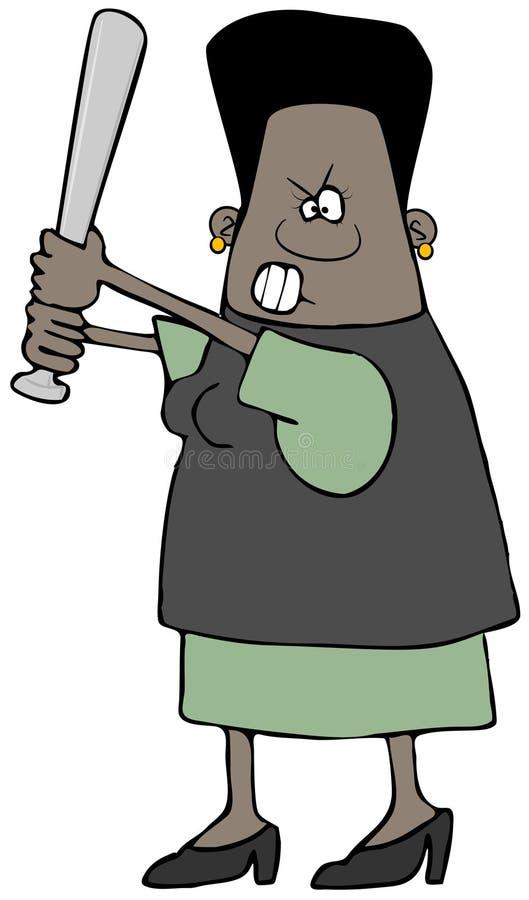 Donna etnica arrabbiata con una mazza da baseball illustrazione di stock