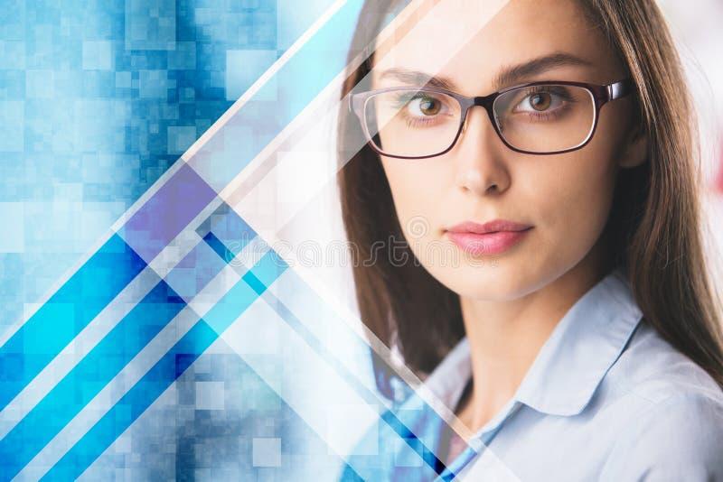 Donna europea con l'insegna di web immagine stock libera da diritti