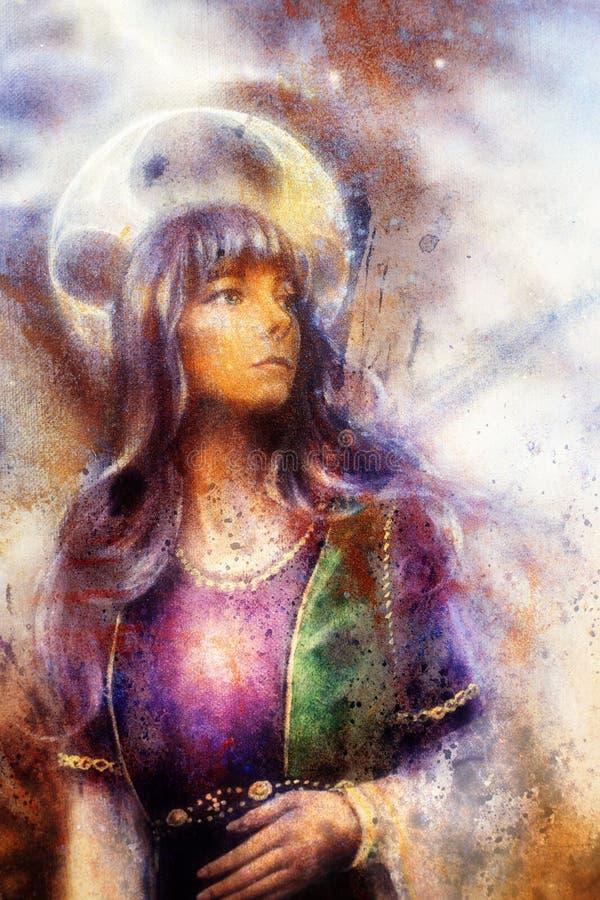 Donna fantastica con gli ornamenti su spazio, sulla pittura di colore e sul fondo della struttura illustrazione vettoriale
