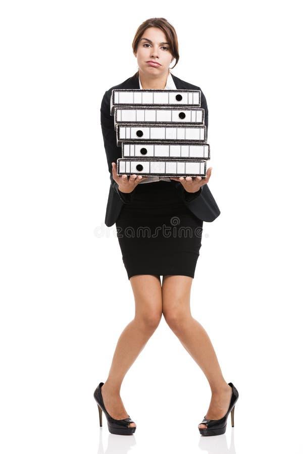 Donna faticosa di affari fotografie stock