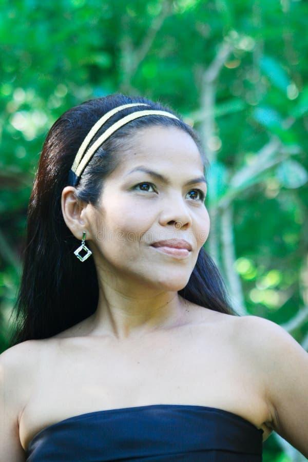 donna felice asiatica fotografia stock