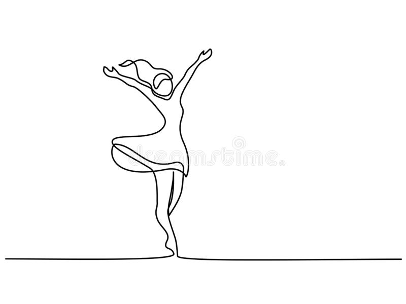 Donna felice che allunga un disegno a tratteggio continuo illustrazione di stock