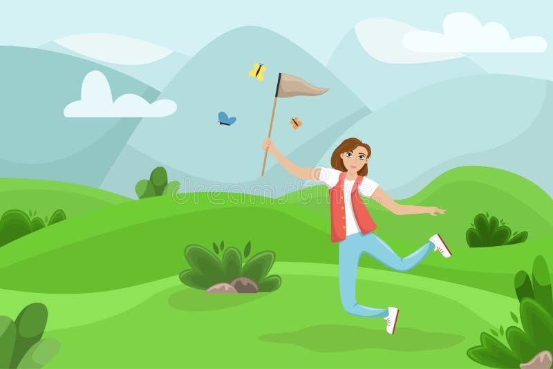 Donna felice che salta con una rete in sue mani La ragazza prende le farfalle Paesaggio di ESTATE Illustrazione di vettore royalty illustrazione gratis