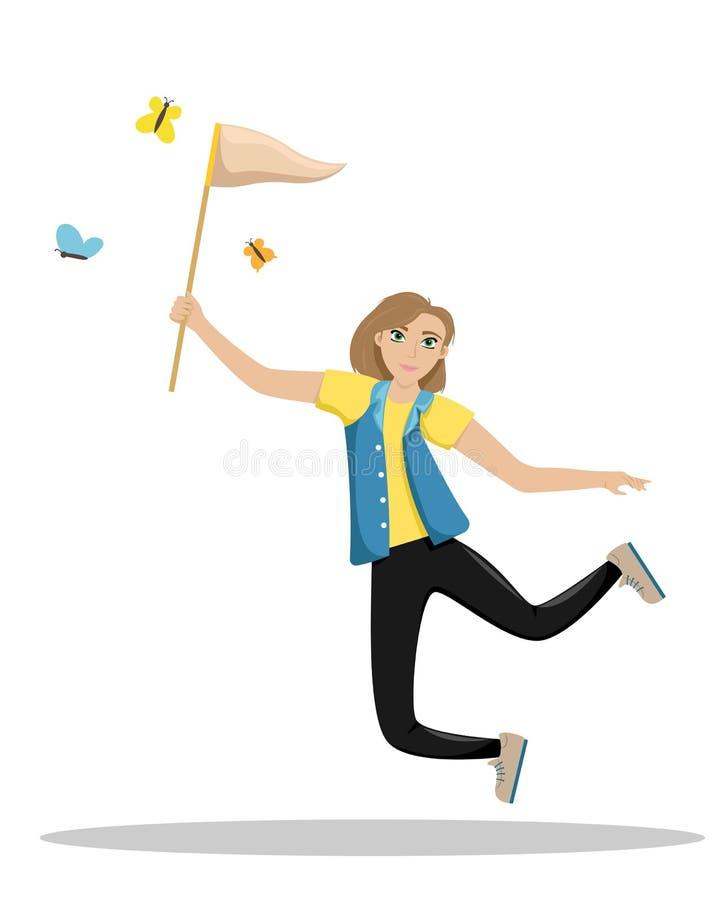 Donna felice che salta con una rete in sue mani La ragazza prende le farfalle Ragazzo e ragazze che si siedono sullo scrittorio p illustrazione vettoriale